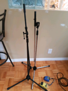 Two tripod microphone stands