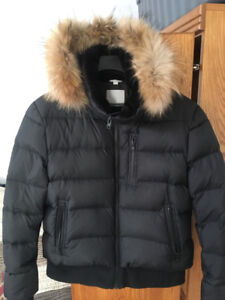 Men's XL black Soia & Kyo down-filled jacket with real fur hood