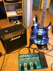 Ibanez gio limited edition, Boss ME 50 Effects , Marshall MG15 DFX amp