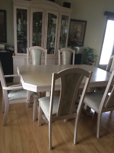 Bleached wood Dining Room Set with China Cabinet
