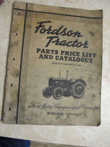 original 1938 fordson tractor parts catalog manual