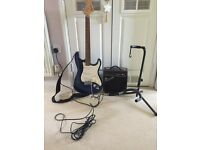 Squire Affinity Stratocaster in blue complete with practice amp, stand and strap