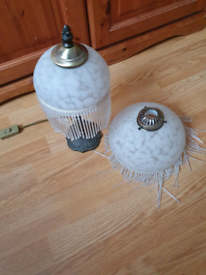 Antique lamp and lampshade