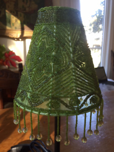 small lamp with beaded shade