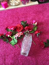 Crystal vase and roses