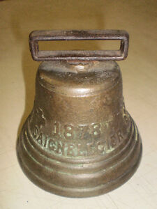 "Cloche antique en bronze 4"" Antique Brass Bell"