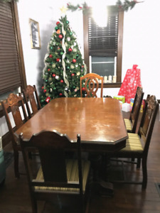 Antique dining room set with matching sideboard.