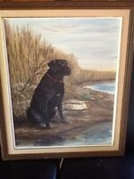 Black lab and duck photo oil painting