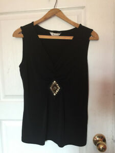 Black scoop-neck sleeveless top