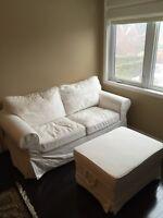 IKEA white love seat & ottoman