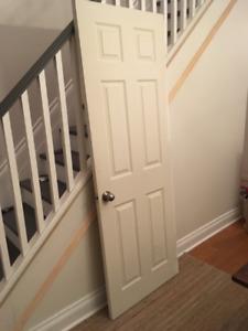 """28""""x78"""" 6 Panel Interior Door with Silver Door Knob"""
