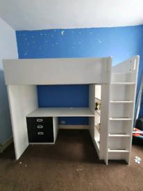 Top bunkbed / desk and cupboard