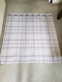 NEXT HOME Lined Lilac and Cream Checked Eyelet Curtains X 2 pairs