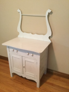 Unique Carved Wood Washstand Dresser Commode. Shabby Chic!