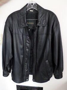 1 black leather jacket $45.00 each, 1 mini pinstripe blazer in