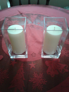2 Candle Vases and Candles