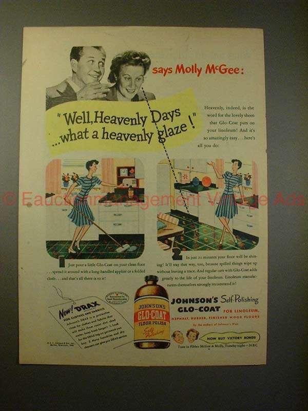 1945 Johnson Glo-Coat Ad - Molly & Fibber McGee, Glaze!