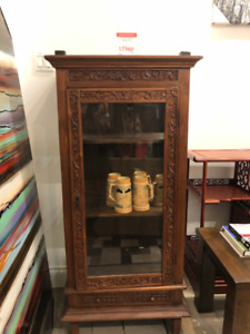 TALL GLASS WOODEN CABINET