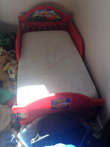 Cars Toddler Bed With 2 Bedding Sets & Mattress Cover