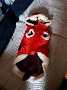 Reversible dog santa /reindeer suit sz lrg