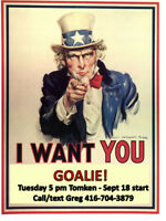 Need a goalie for winter hockey in Mississauga!