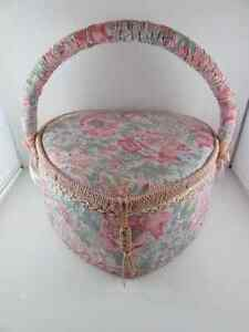 Floral Heart Shaped Sewing Basket