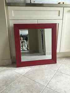 red framed bevelled mirror Cambridge Kitchener Area image 1