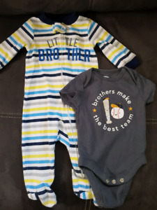 0-3 month sleeper and onesie
