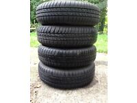 4x100 Steel wheels and 155 70 R13 tyres