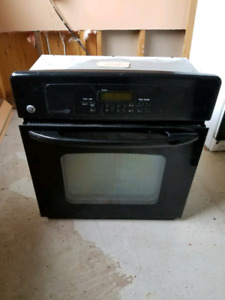 SOLD Black GE Wall Oven & glass ceramic cooktop.