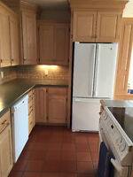 Solid oak Kitchen cabinets and Island with Corian countertops