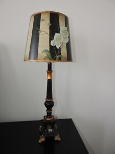 Antique French Inspired Hand-painted Wooden Lamp