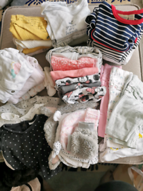 Bundle of girls clothes and swaddles 0-6 months