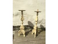 Pair of cast iron Metal cream candlesticks