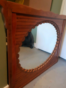 Large Wood Mirror with Wall Scones