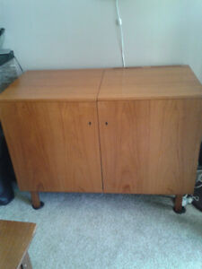 Mid Century Solid Teak Bar with Fridge!
