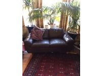 Lovely small brown leather two seat settee/sofa/