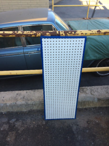 ALUMINUM-FRAMED CUSTOM PAINTED WHITE PEGBOARD WALL ORGANIZERS