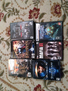PC games (medal of honour, StarCraft 2, mafia 2, bioshock 2)