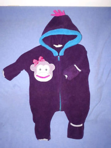 Baby Girl Spring 1pc SockMonkey Suit,Size 0/6mts