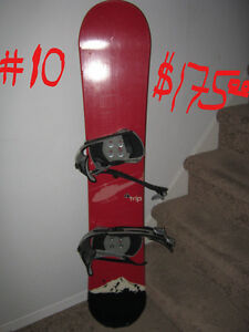SNOW BOARDS, HELMETS AND BOOTS
