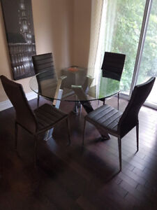 Modern Glass Table With Chrome Legs  and 5 Chairs