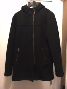 MENS ZARA BLACK ZIPPER TOPCOAT/JACKET M/L