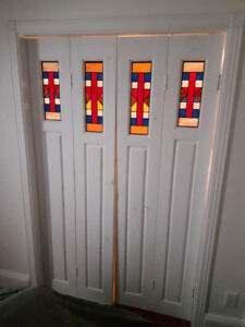 Wood Panel Doors with Stained Glass Insert