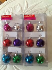 12 bauble name card holders with name cards brand new