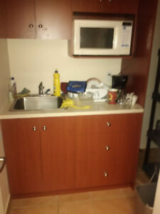 Coffee Station Cabinets, Granit Counter, Sink & Faucet
