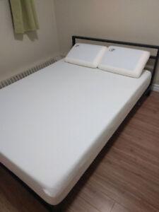 Black Bed Frame / Mattress / 2 Memory Foam Pillows