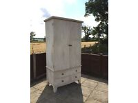 Cream Shabby Chic Distressed Solid Wood Double Door Wardrobe With Draws