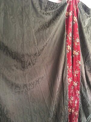 1- Pair Custom Lined Drapes Panels Green Moire With Floral Border   57 X -
