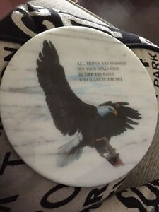 Laminated eagle on marble